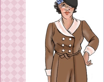NVL 1930s Double breasted dress with shawl collar 40 bust NRA edition Plus Size 8396