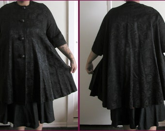 1950s black brocade bell swing coat PLUS SIZE up to 50 bust
