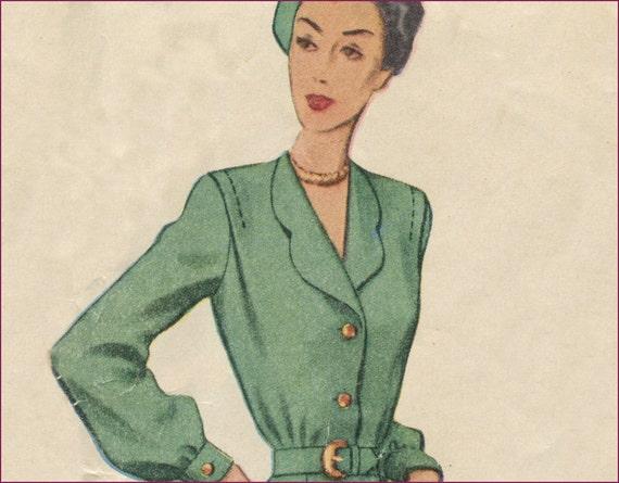 1940s  44 bust Tuck shoulder bodice dress PLUS SIZE