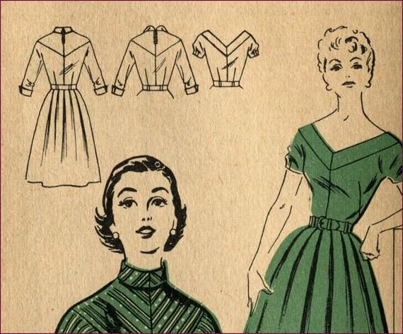 1950s 30 bust V neck the night away poof skirt dress pattern