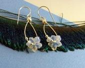 Sea Opal Flower Hoops