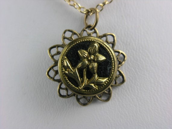 Perfume Button Jewelry Gold Flower on Chocolate Velvet Antique Victorian Perfume Button Necklace