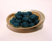 Atlantis Blue Round Handmade Lampwork Glass Spacer Beads / (12) 8x12mm -OR- (20) 4x7mm CHOOSE SIZE