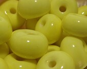Acid Yellow Round Handmade Lampwork Glass Spacer Beads / (12) 8x12mm -OR- (20) 4x7mm CHOOSE SIZE