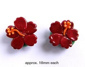 2 Dark Red Hibiscus Tropical Flower Handmade Lampwork Glass Beads