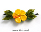 3 Piece Yellow Hibiscus Tropical Flower Set Handmade Lampwork Glass Beads
