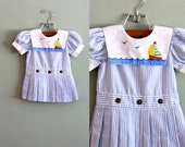 80s 18/24 mos Little Pleated Striped Sailing DRESS