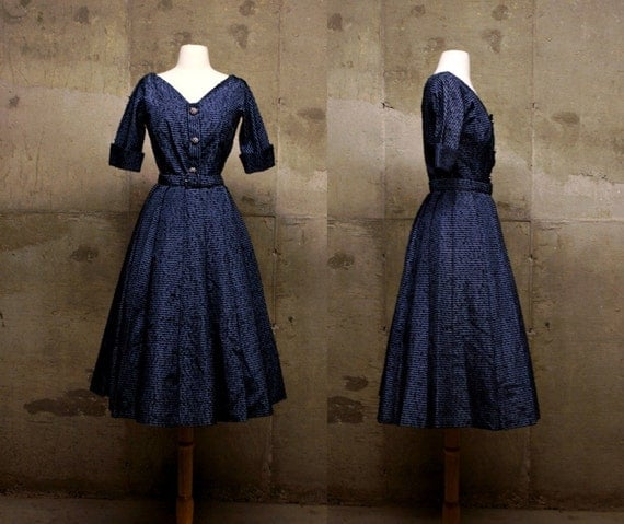 50s S Steel Blue Grey Embroidered Taffeta GOWN