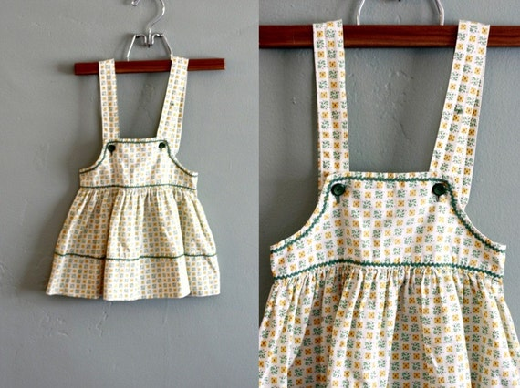 50s 12/18 mos Green and Yellow Ric Rac  DRESS with Bloomers and Bonnet