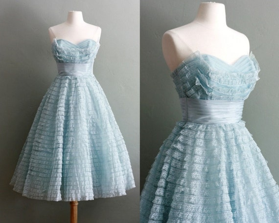 50s XS/S Powder Blue Peggy Sue Party GOWN