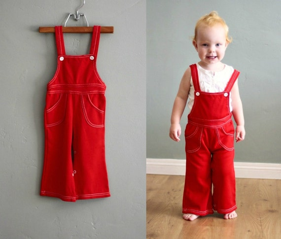 70s 18/24months Bright Red OVERALLS