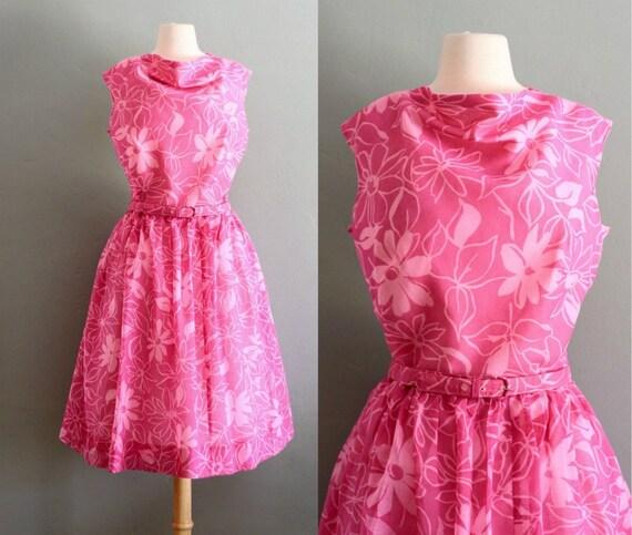 50's XL Fuchsia Big Print Party DRESS