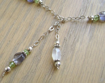"Napa Valley ""Y"" lariat necklace, organic, moonstone, iolite, peridot, sterling silver, Valentine's Day, feminine, semiprecious, faceted"