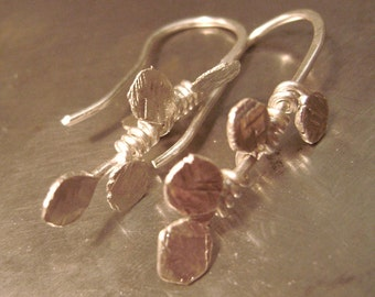 Winding Vines, Artisan drop earrings, sterling silver,,nature, neutral,organic, Autuman,precious metal, handmade, drop, rustic, leaf, leaves