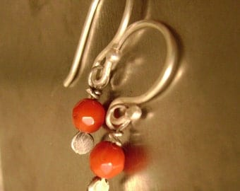 Faceted 5mm Candy Apple Coral Dangles, petite size