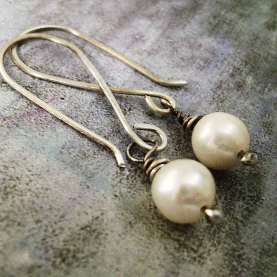 Classic, Elegant, White, Freshwater Pearl, Dangle, drop, rustic, minimalist,handcrafted, artisan, sterling silver, wire wrapped, gift, her