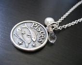Pisces - Zodiac Charm Pendant Necklace with Aquamarine