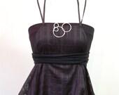 Sale Sale Sale  Black windowpane draped apron dress