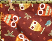 Owl Baby Quilt - brown, lime, orange. Sale