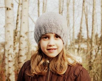Gray Beanie - handknit youth size