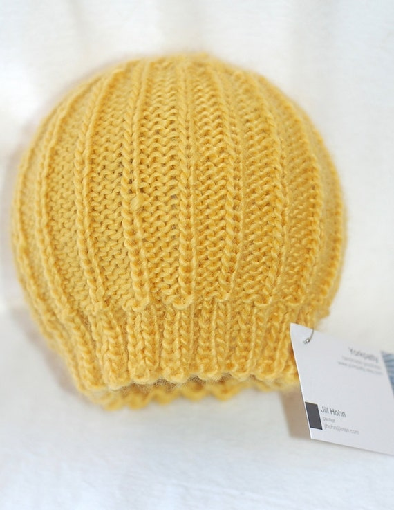 Yellow Baby Beanie - handknit, soft, ribbed infant toddler hat
