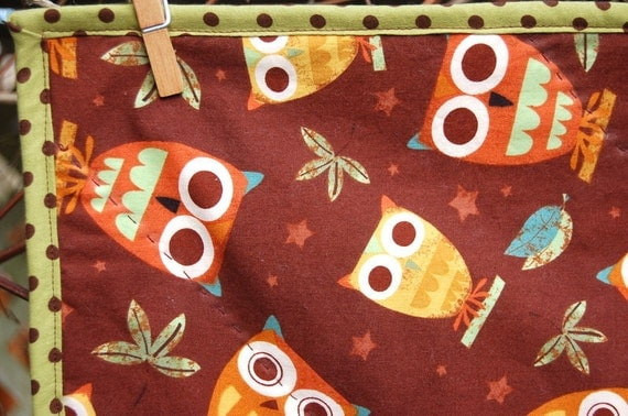 Owl Baby Quilt - brown, lime, orange. Sale