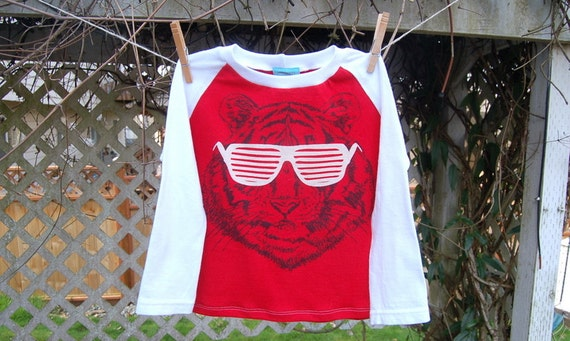 Kids Recycled Tiger TShirt - handmade, repurosed, raglan style, red, white, children, sunglasses