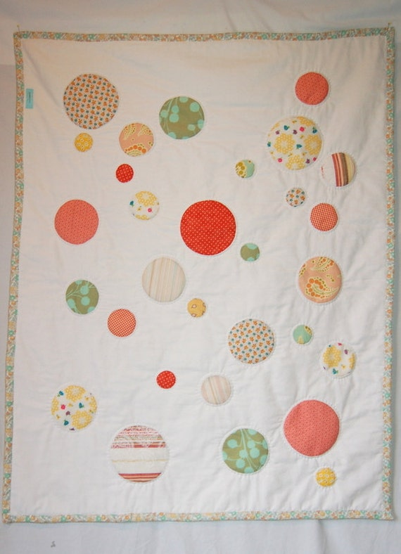 Circle Quilt - handmade, handstitched, baby, infant, nursery, orange, coral, aqua, yellow