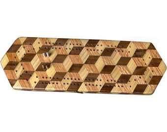 Tumbling Block Cribbage Board