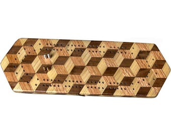 Tumbling Block Cribbage Board
