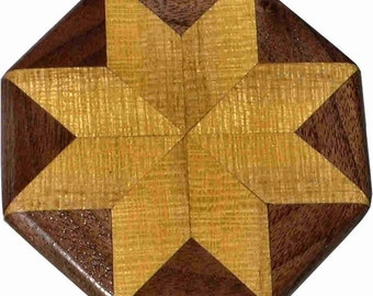 Satinwood-Walnut Quilt Block Pattern Weight