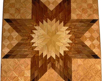 Large Brown Tone on Oak Lone Star Quilt Block