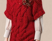 Hand Knit   Red Sweater   with Cables Made  from soft  chunky  merino-wool   Yarn  .