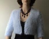 Bridal Bolero Cardigan Sky Blue Angora-Mohair   hand knit inspired by Royal Wedding Kate Middleton wedding dress