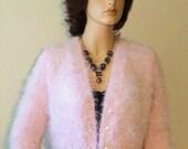 ON SALE Hand Knit Pink  Angora Cardigan Bolero  inspired by Royal Wedding Kate Middleton White Angora Cardigan Ready to Ship