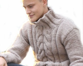 On  SALE  Hand Knit  Men's Sweater  With Cable pattern  from Best Peruvian Merino Wool  Made to order