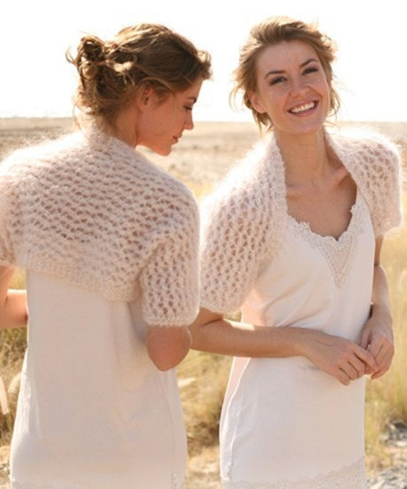 Hand Knit Wedding Bolero Shrug Lace Pattern Great for