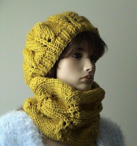 Hand Knitted Neck Warmer Snood Scarf Lace leaf pattern Mustard color