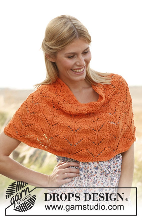Knitting Pattern For Lace Poncho : Hand Knit Poncho with Lace Pattern Pick your color by tvkstyle