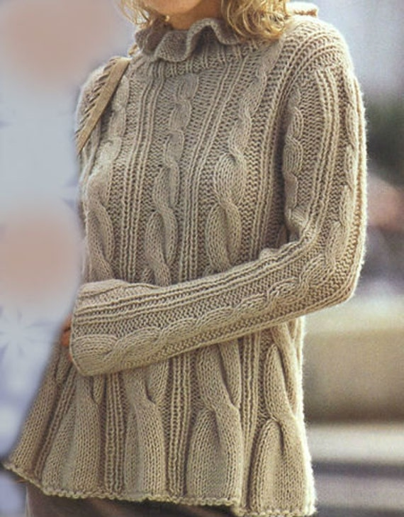 Hand Knit   Sweater   with Cables Made  from soft  alpaca Yarn  .