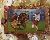 SET OF TWO Thanksgiving vintage postcard PLACECARDS OR TAGS
