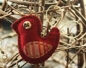folk art inspired wool felt bird ornament