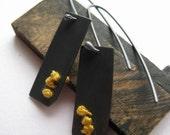 Rectangle Tab Earrings, Yellow