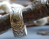PLYWOOD sterling silver woodgrain ring size 9