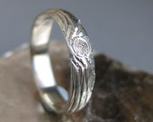 Womens wood wedding band 14kt white GOLD woodgrain ring THIN PLYWOOD made to order