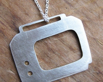 PORTABLE TV sterling silver television silhouette necklace