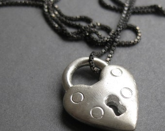 HEART LOCK solid silver padlock charm necklace Made to Order