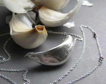 garlic VAMPIRE REPELLENT or MAGNET sterling necklace Made to Order