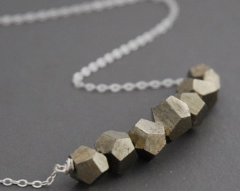 pyrite LUCKY SEVEN polyhedron necklace