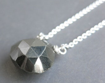 PYRITE faceted briolette sterling necklace